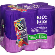 V8 V-Fusion Pomegranate/Blueberry Vegetable & Fruit 100% Juice Box
