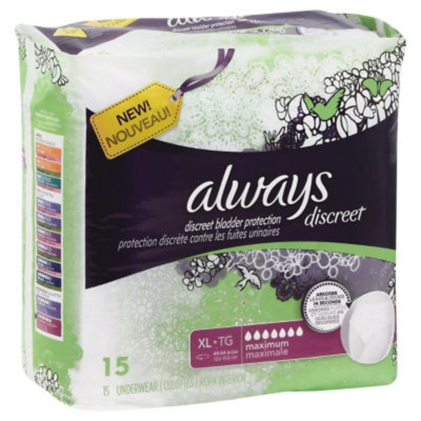 Always Discreet Always Discreet, Incontinence Underwear, Maximum Classic Cut, Extra-Large, 15 Count Feminine Care