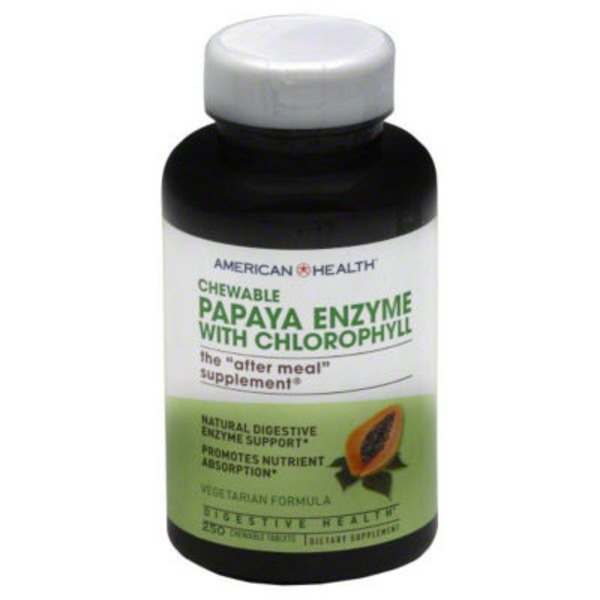 American Health Papaya Enzyme With Chlorophyll Vegetarian Formula Chewable Tablets