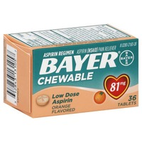 Bayer Low Dose Aspirin Orange Flavored 81mg Chewable Tablets Pain Reliever
