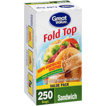 Great Value Fold Top Sandwich Bags