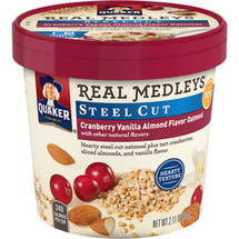 Quaker Real Medleys Steel Cut Cranberry Vanilla Almond Flavor Oatmeal