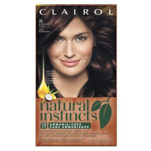 Clairol Natural Instincts, 2RV / 38 Blackberry Burgundy Black, Semi-Permanent Hair Color, 1 Kit Female Hair Color