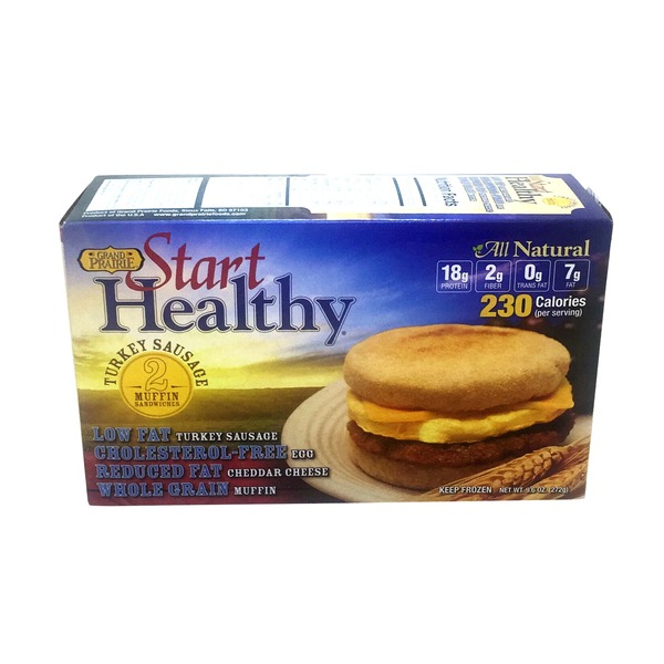 Grand Prairie Start Healthy Turkey Sausage Muffin Sandwiches