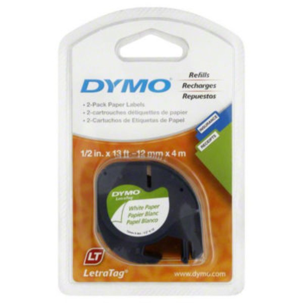 Dymo Letra Tag White Paper Labels Refills