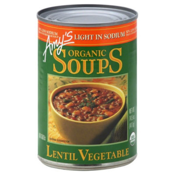 Amy's Organic Soups Lentil Vegetable Soup, Light in Sodium