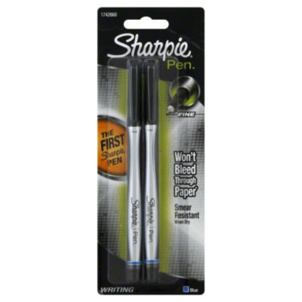 Sharpie Fine Pen Blue - 2 CT