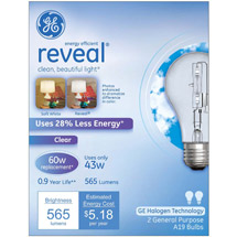 GE energy-efficient reveal;#194;;#174; clear 43 watt A19
