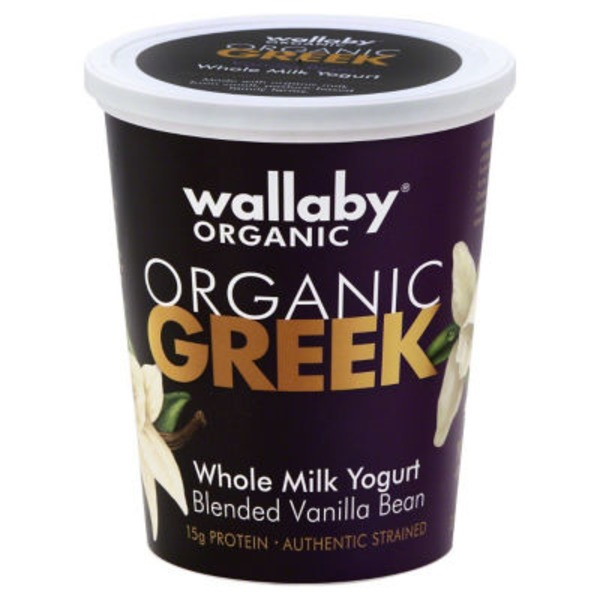 Wallaby Organic Organic Greek Whole Milk Blended Vanilla Bean Yogurt