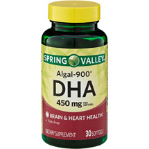 Spring Valley Algal-900 DHA Dietary Supplement Softgels 450 mg