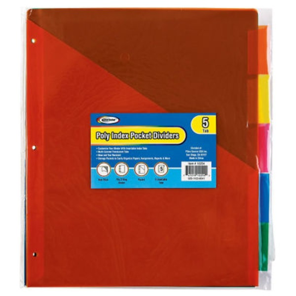 Unison 5 Tab Poly Index Dividers With Pockets
