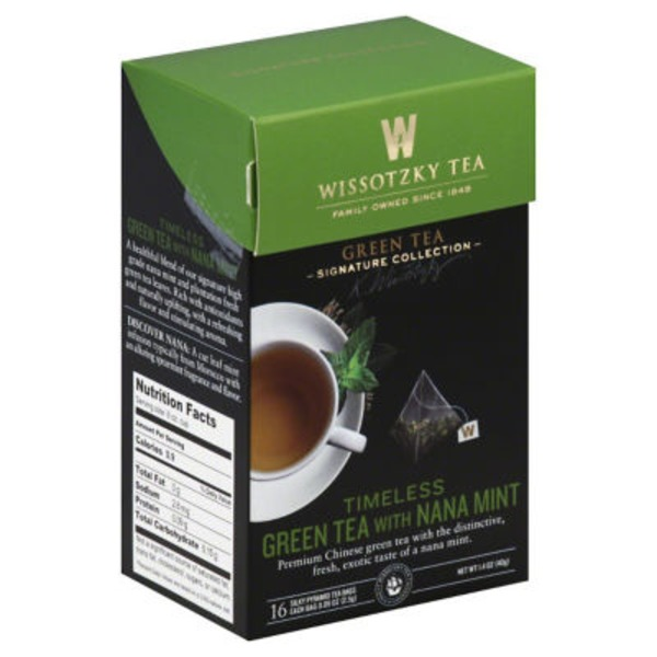 Wissotzky Tea Green Tea, Timeless, with Nana Mint, Bags