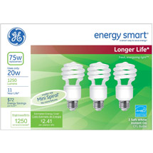 GE energy smart® spiral® CFL 20 watt T2 spiral