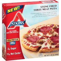 Atkins Stone Fired Three Meat Pizza Frozen Meal