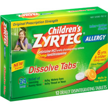 Children's Zyrtec Allergy Relief Citrus Flavor Dissolve Tabs Tablets