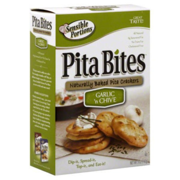 Pita Bites Sensible Portions Pita Bites Garlic 'n Chive Naturally Baked Pita Crackers