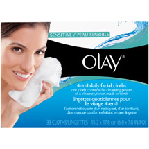 Olay 2-In-1 Daily Facial Cloths For Sensitive Skin Fragrance-Free