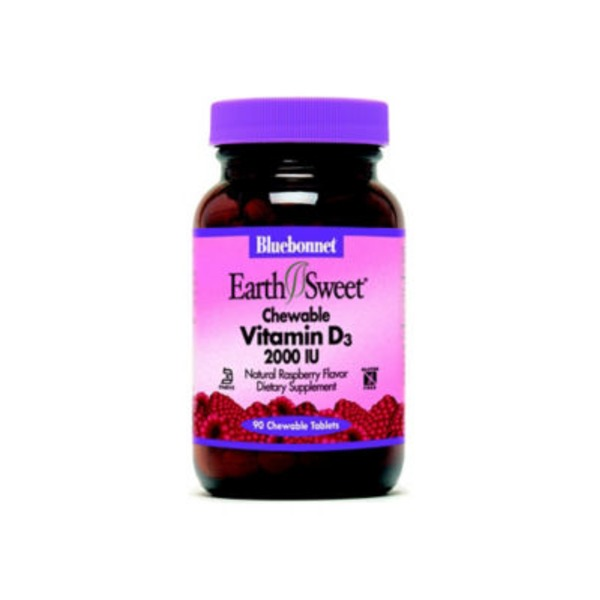 Bluebonnet Nutrition Earth Sweet Chewable Vitamin D3 2000 Iu Natural Raspberry