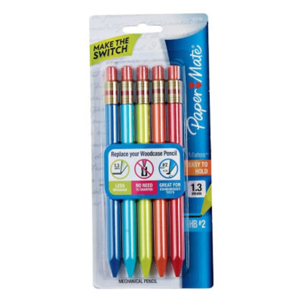 Paper Mate Mechanical Pencils, 1.3 mm, HB# 2, Assorted