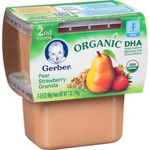 Gerber 2nd Foods Purees w/DHA Pear Strawberry Granola 3.5 Oz