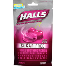 Halls Black Cherry Sugar Free Menthol Drops Cough Suppressant