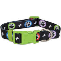 Aspen Pet Adjustable Dog Collar Paws Print (Large)