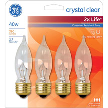GE crystal clear 40 watt bent tip