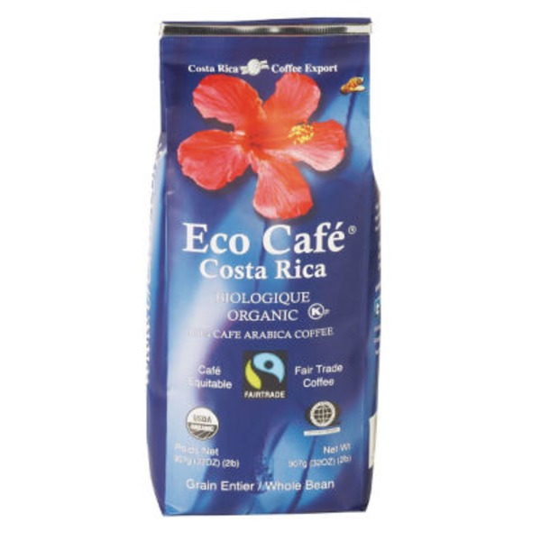 Eco Café Costa Rica Organic While Bean Coffee
