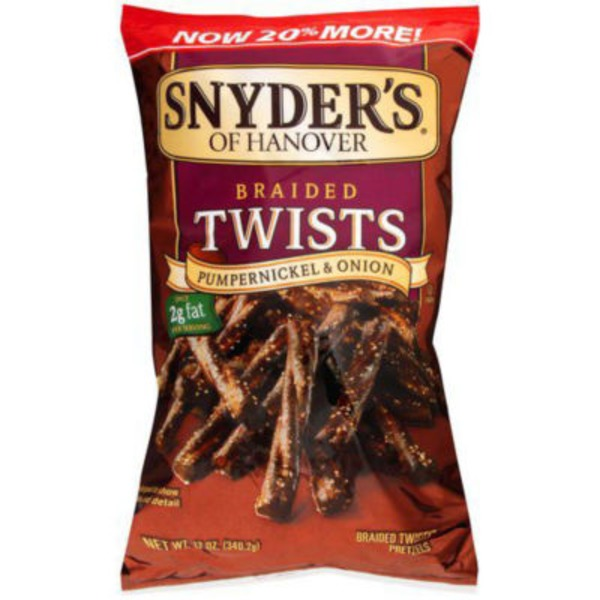Snyder's of Hanover Braided Twists Pumpernickel & Onion Pretzels