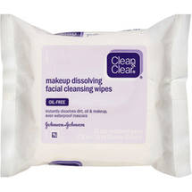Clean & Clear(R) Makeup Dissolving Facial Cleansing Wipes Oil-Free Cleansers 25 ct