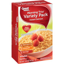 Great Value Morning Trio Instant Oatmeal Variety Pack