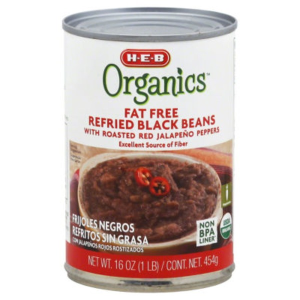 H-E-B Organic Fat Free Refried Black Beans With Jalapenos