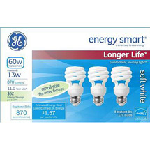 GE energy smart spiral CFL 13 watt T2 spiral