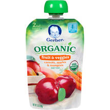 Gerber Organic 2nd Stage Carrots Apples & Mangoes Baby Food