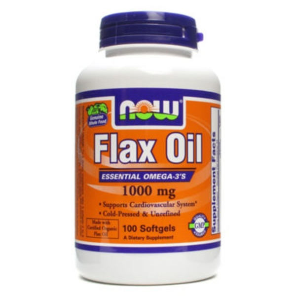 Now Flax Oil 1000 mg Cardiovascular Support Dietary Supplement