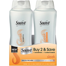 Suave Professionals Sleek Shampoo + Conditioner Combo Pack (Pack of 2)