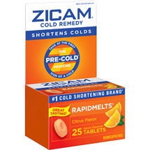 Zicam Rapidmelts With Vitamin C Citrus Cold Remedy Tablets