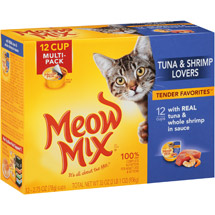 Meow Mix Tender Favorites With Real Tuna & Whole Shrimp in Sauce Wet Cat Food 2.75-Ounce Cups (Pack of 12)