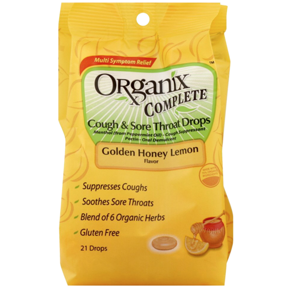 ProPhase Labs Organix Complete Cough & Sore Throat Drops, Golden Honey Lemon Flavor