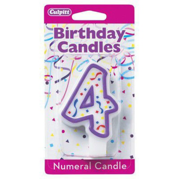 Culpitt Candles Numeral 4 Purple Candle