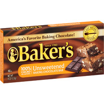 Kraft Baker's Unsweetened Baking Chocolate Bar