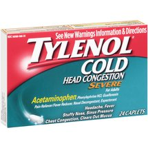 Tylenol Severe Cold Head Congestion Caplets for Adults