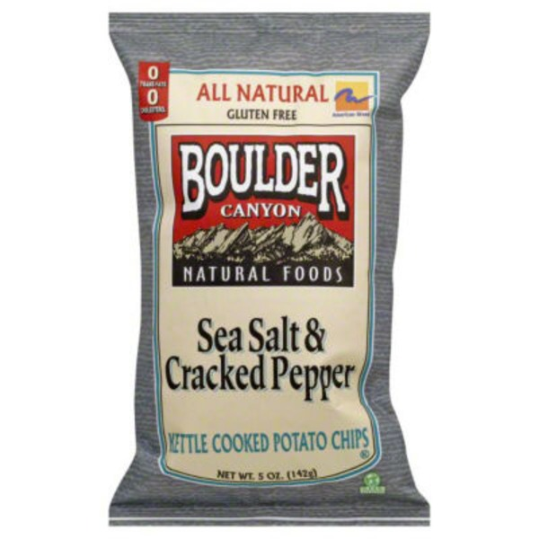 Boulder Canyon Potato Chips, Kettle Cooked, Sea Salt & Cracked Pepper