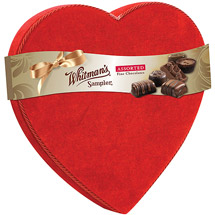 Whitman's Sampler Valentine Chocolate Candies Velvet Heart Box