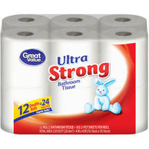 Great Value Double Rolls Ultra Strong 2-Ply Bathroom Tissue (Pack of 12)