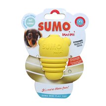 Xtra-Small Yellow Rubber Sumo Dog Toy
