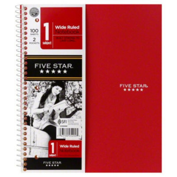 Mead Five Star 1 Subject Wide Ruled Notebook - 100 Sheets