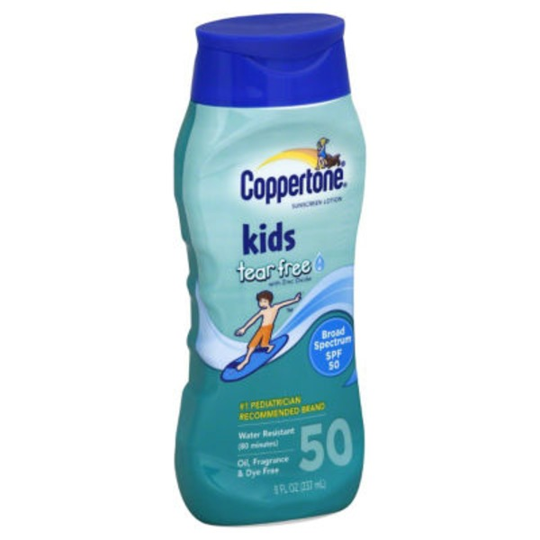 Coppertone Kids Tear Free with Zinc Oxide Broad Spectrum SPF 50 Lotion Sunscreen
