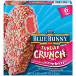 Blue Bunny Frozen Sundae Crunch Bars Strawberry 3.0 oz 6 ct Carton Ice Cream Bars