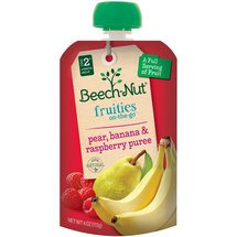 Beech-Nut Stage 4 Fruities On-The-Go Pear Banana & Raspberry Puree Baby Food